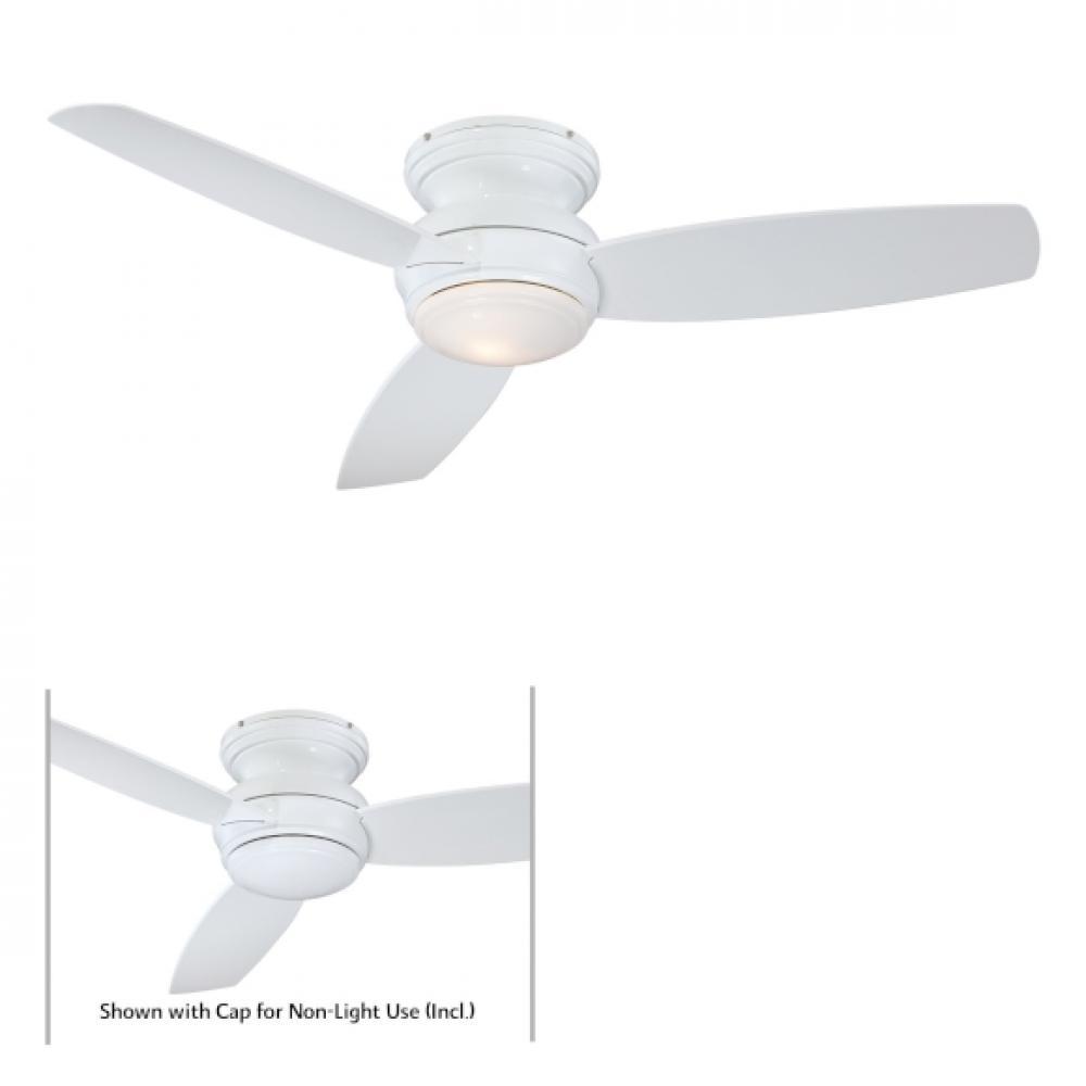 one light white hugger ceiling fan f594 wh unique lighting. Black Bedroom Furniture Sets. Home Design Ideas