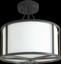 Omotec Canada 408SF03RB-WH - Three Light Bronze Drum Shade Semi-Flush Mount